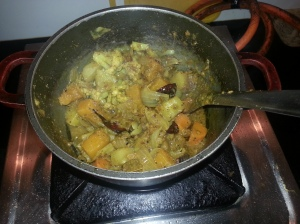 Cooking-Labra bhaji