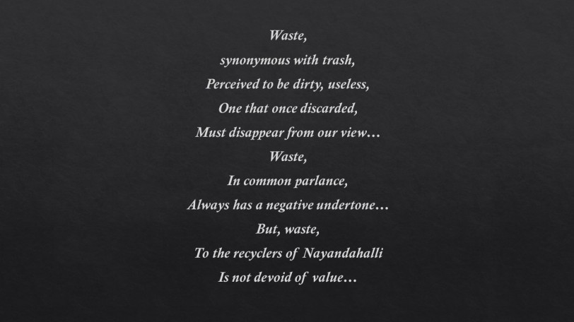 Poem 9 Waste and value