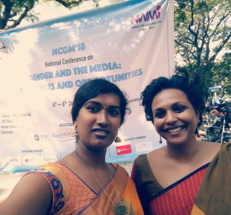 RJ Priyanka (L) and RJ Lakshmi (R) at the NWMI conference in Chennai
